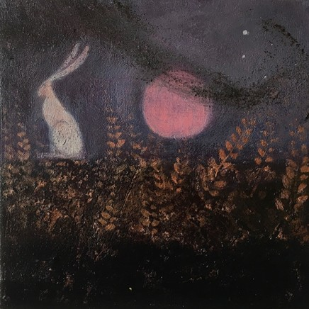 Catherine Hyde The Pink Moon And The Hare, 2018 Acrylic on canvas 20 x 20 cm