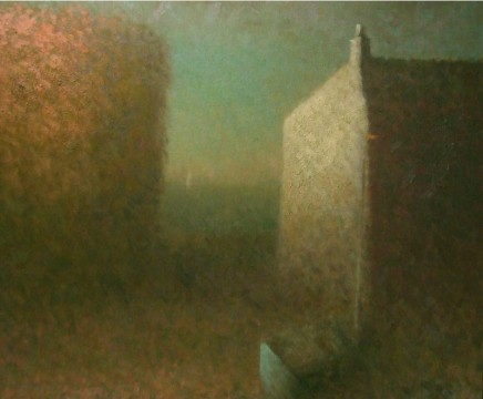 Nicholas Turner RWA Boat and House Oil on linen 51 x 61 cm
