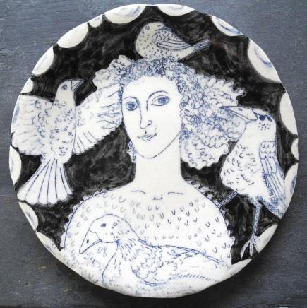 Georgina Warne For the Love of Birds Hand made glazed stoneware Dia: 18.5 cm