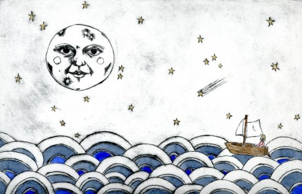 Devi Singh He Sings to the Moon and Stars Etching Edition of 14 22 x 32 cm