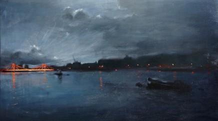Christopher Gray Nocturne Battersea Park Oil on linen 51 x 86 cm