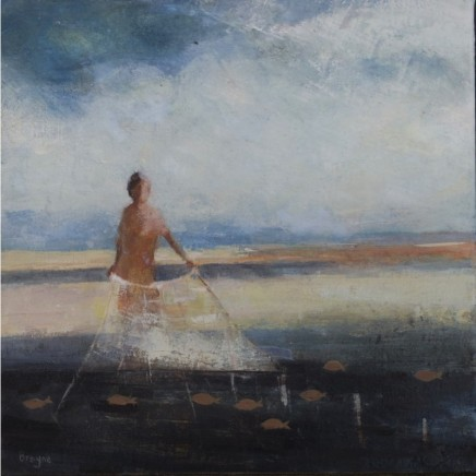 David Brayne RWS Wide Net Watercolour and acrylic on canvas 30 x 30 cm