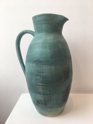 Peter Mumford Green Pitcher Hand Thrown Stoneware Pottery 15""