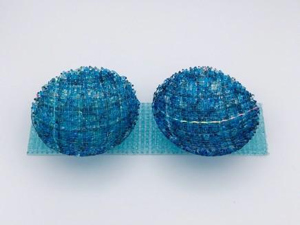 Cathryn Shilling Mini: Turquoise Blue/Steel Blue on Light Aquamarine Blue Base, 2020 Kiln formed glass with Dichroic bowls on a Kiln formed glass base Bowls: 3 x 10.5 cm Base: 6 x 24 x 0.5 cm