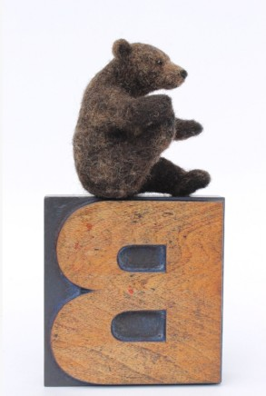 Dinny Pocock Letter Block: Yoga Bear Wool fibres and wire frame
