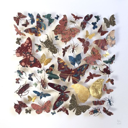 Helen Ward Painted Ladies 8 Victorian hand-marbled papers, gold leaf, enamel pins 40 x 40 cm