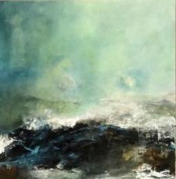 Debra Royston Into the Blue Mixed Media on Canvas 60 x 60 cm
