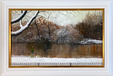 Chris Williamson Feeding the Ducks, Battersea Park Oil on panel 30.5 x 49.5 cm