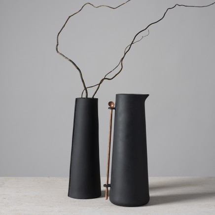 Lynne Rossington Black Porcelain Conical Jug with Copper Spoon Slip cast, unglazed, vitrified at 1240°c H: 21cm