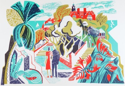 Clare Curtis Spa Garden Lithograph - 4 colours Published 2014, edition of 75 Framed: £420 49 x 67 cm