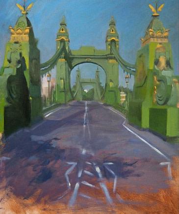 Christopher Gray Hammersmith Bridge Oil on board 58 x 46 cm