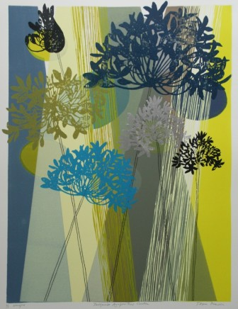Tessa Pearson Turquoise Agapanthus Garden Monotype 60 x 45 cm