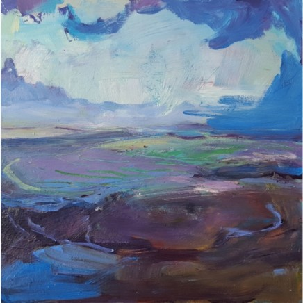 Andrew Kinmont Looking West, Purple Shadows Oil on canvas 50 x 50 cm