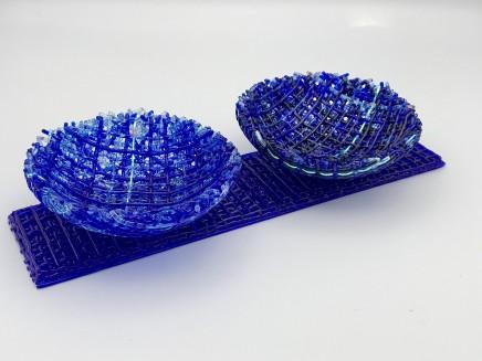Cathryn Shilling Mini: Light Sky Blue/Royal Blue on Light Sky Blue Base, 2020 Kiln formed glass with Dichroic bowls on a Kiln formed glass base Bowls: 3 x 10.5 cm Base: 6 x 24 x 0.5 cm