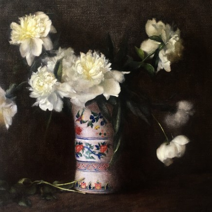 Nneka Uzoigwe Peonies in Family Vase Oil on linen 61 x 61 cm