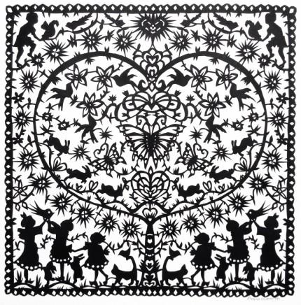 Anna Howarth  The Magic Tree  Black paper cut  39 x 39 cm