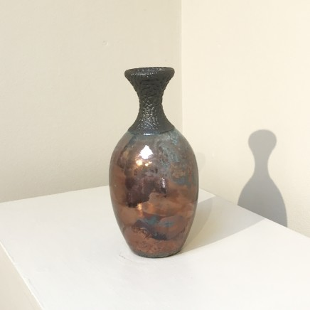 Keith Menear Raku Bottle 1810-7 Luster Glaze Ceramic 15 x 7 cm