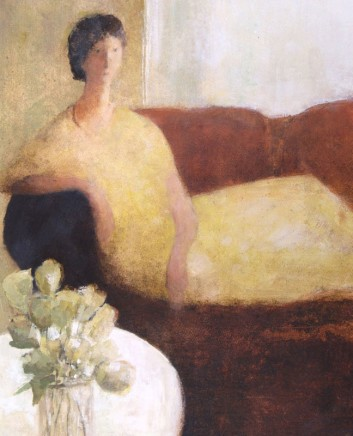 David Brayne RWS, Red Sofa, Yellow Flowers