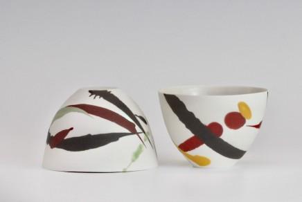 Ali Tomlin  Two Cups - Red deep splash  Porcelain