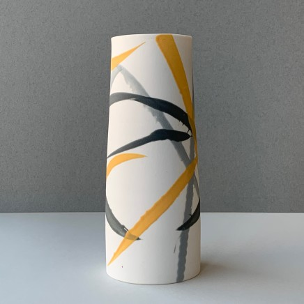 Ali Tomlin Cylinder - Grey and Yellow Splash Porcelain AT11