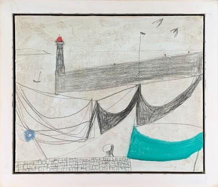 Nicholas Turner RWA Green Boat Oil and pencil on board 25 x 30 cm