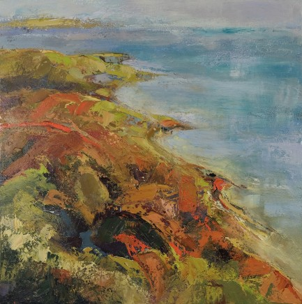 Nicola Rose Coastline - Dorset Jurassic Coast Oil on canvas 90 x 90 cm