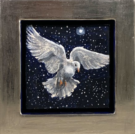 Julie Fleming Williams Dove Oil on canvas 14 x 14 cm