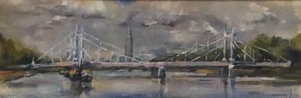 Clemmie St John Webster Albert Bridge Oil on linen 10 x 30 cm