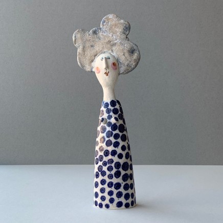 Jane Muir, Lady, Blue Spotted Dress