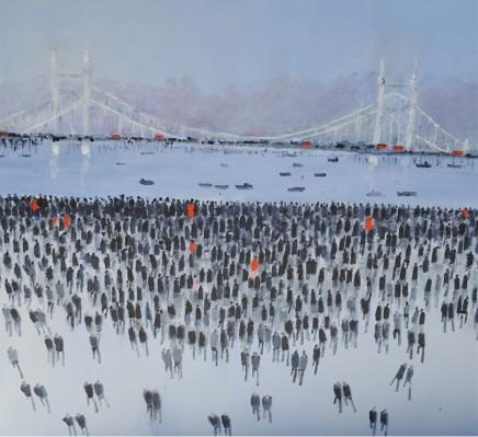 David Wheeler Albert Bridge Oil on canvas 80 x 80 cm
