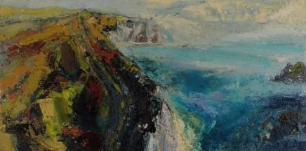 Nicola Rose Jurassic Cliffs Oil and sand on canvas 100 x 50 cm