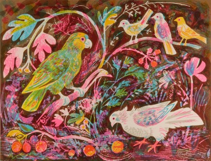 Mark Hearld Still Life with Amazon Parrot Lithograph - 6 colours Published 2014, edition of 95 Framed: £3650 58 x 77 cm