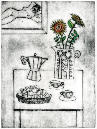 Devi Singh Coffee and Croissants Etching 20 x 15 cm Edition of 14