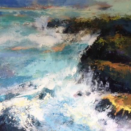 Nicola Rose Chaos - Cornwall Oil on canvas 90 x 90 cm