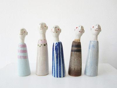 Jane Muir  Little Men 1  Ceramic  14 x 4 cm Each