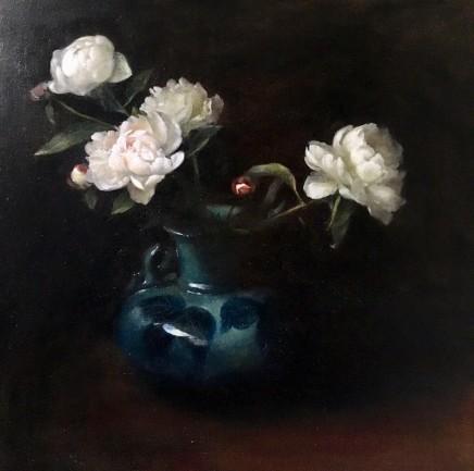 Nneka Uzoigwe Icelandic Peonies in China Vase Oil on linen 50 x 50 cm