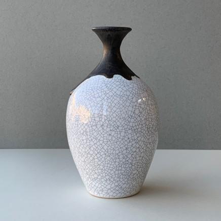 Keith Menear, Crackle Glaze Bowl Teardrop Vase