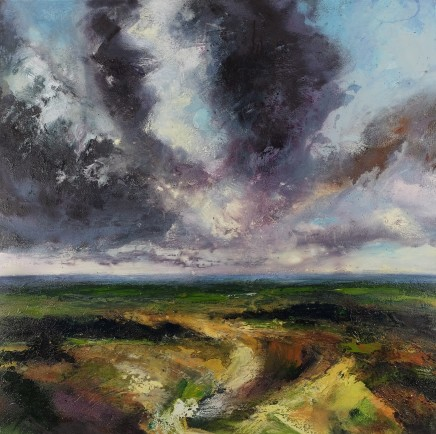Nicola Rose Grey Horizon - Sussex Downs Oil and sand on canvas 100 x 100 cm