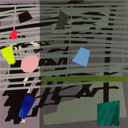 Bruce McLean Green Grey Violet Shadow Signed limited edition hand-cut and painted collaged Published 2015, edition of 75 Framed: £900 Image size: 54 x 54.5 cm Paper size: 73 x 74 cm