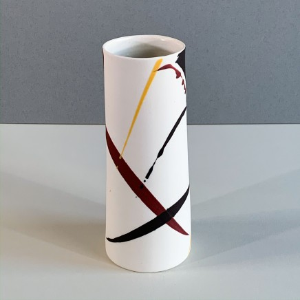 Ali Tomlin AT8 - Cylinder Vase, Burgundy and Yellow Splash Porcelain 18 x 8 cm