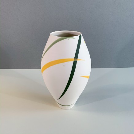 Ali Tomlin AT16 - Large Oval Vase, Yellow and Green Splash Porcelain 24 x 14 cm