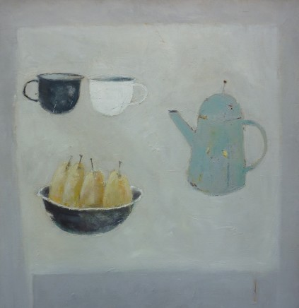 Marilyn Browning  Table top with four pears in a bowl  Oil on canvas  76 x 76 cm