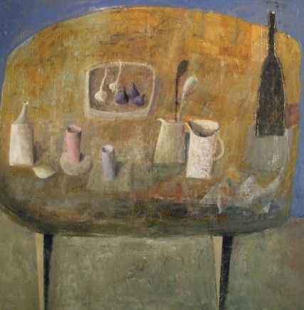 Nicholas Turner RWA Yellow Table with Figs and Garlic Oil on linen 80 x 80 cm