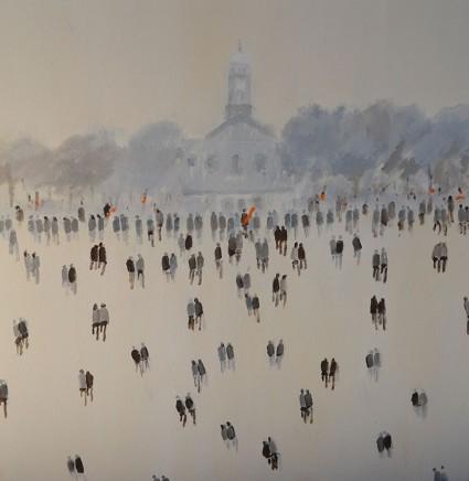 David Wheeler Clapham Common Church Oil on canvas 50 x 50 cm