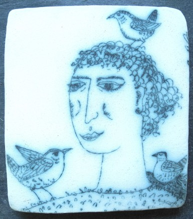Georgina Warne Wren World Cobalt mono type on stoneware 11 x 10 cm
