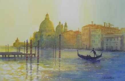 Terence Gilbert Afterglow, Venice Watercolour on panel 35.5 x 51 cm