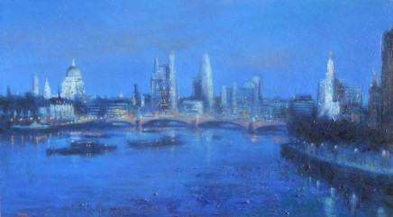 Terence Gilbert The City from Waterloo Bridge Oil on board 23 x 41 cm