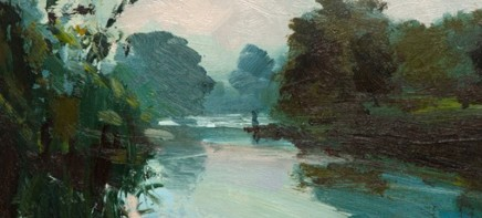 Robert Newton Fading Light Oil on board 17 x 40 cm