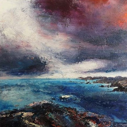 Nicola Rose The Sound of Iona Oil and sand on canvas 90 x 90 cm