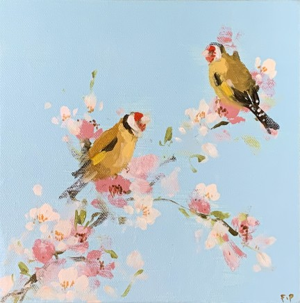 Fletcher Prentice Goldfinches on Cherry Blossom Oil on canvas 20 x 20 cm
